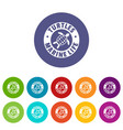 turtles marine life icons set color vector image