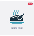 two color roasted turkey icon from united states vector image vector image