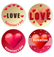 valentine sticker design with red hearts vector image vector image