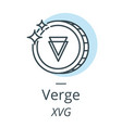 verge cryptocurrency coin line icon of virtual vector image vector image