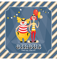Vintage card with clowns vector image vector image