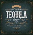 vintage mexican tequila label for bottle vector image vector image