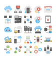 web hosting and cloud storage flat icons vector image vector image