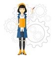 Woman standing on gears background vector image vector image
