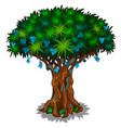 big fairy tree with blue flowers and energy veins vector image