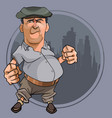 cartoon bellied man with fists in cap vector image