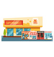 supermarket and small magazines cityscape flat vector image