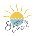 summer time card with sun and waves vector image