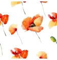 Watercolor flowers seamless pattern with poppies vector image