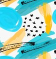 Abstract blue marker circles and yellow brush vector image vector image