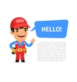 Builder Saying Hello Poster vector image vector image