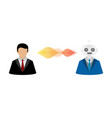 businessman user and robot vector image