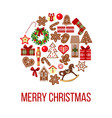 christmas card figures on bauble shape images vector image vector image