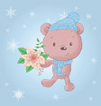 cute cartoon christmas bear with poinsettia vector image vector image