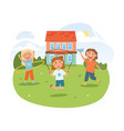 cute little children are playing together vector image vector image