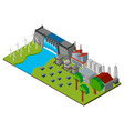 dam and power station in 3d design vector image