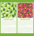 detox juice poster ingredients of refreshing drink vector image vector image