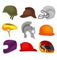 flat set of 9 helmets protective headgear vector image vector image