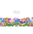 floral background decorated with spring flowers vector image vector image