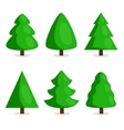 Green Christmas tree set in cartoon style vector image vector image
