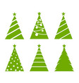 green christmas trees set on white background vector image vector image