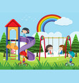 happy children playing in playground vector image