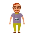 Hipster young beard man with retro photo camera vector image