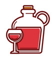 homemade red wine in huge glass bottle with handle vector image