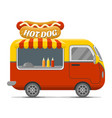 hot dog street food caravan trailer vector image