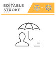 human insurance editable stroke line icon vector image vector image