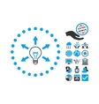 Idea Bulb Flat Icon With Bonus vector image