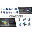 isometric modern chargers composition vector image
