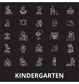 kindergarten editable line icons set on vector image