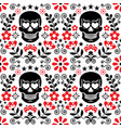 mexical skull and flowers seamless pattern vector image vector image