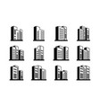 perspective black icons buildings and line vector image vector image