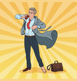 pop art businessman late to work man with coffee vector image vector image