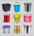realistic metal and plastic buckets with handle vector image