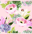 seamless pattern with succulent and flower vector image vector image