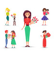 set congratulations devoted to mom and daughter vector image