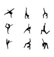 set easy gymnastic poses silhouette vector image