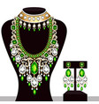 set indian wedding necklace and earrings vector image vector image