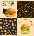 set of burger grilled beef and fresh vegetables vector image vector image