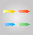 set of colored glass arrows on a gray background vector image