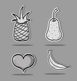 set tropical patches fruit design vector image