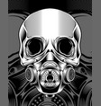 skull with respirator hand drawing vector image vector image