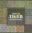 tiger stripe camouflage seamless patterns vector image vector image