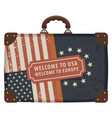 travel bag with flags of usa and eu vector image