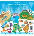 Travel flat design banner with bag passport vector image