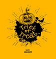 trick or treat pumpkin with splash vector image vector image