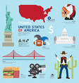 USA Flat Icons Design Travel Concept vector image vector image